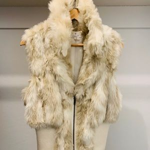 Faux White and Grey Fur vest